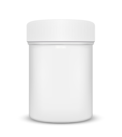 Illustration for Plastic medicine bottle isolated on a white background, illustration  - Royalty Free Image