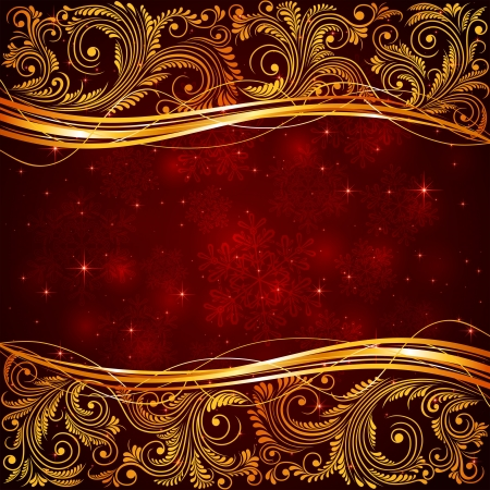 Illustration for Red Christmas background with floral elements illustration  - Royalty Free Image