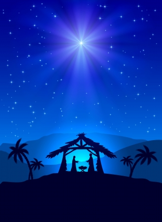 Illustration pour Christian Christmas night with shining star and Jesus, illustration  - image libre de droit