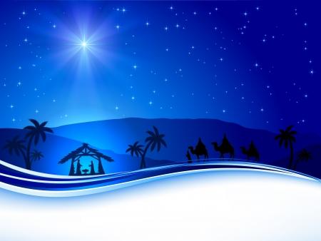 Illustration pour Christian Christmas night with shining star, illustration  - image libre de droit
