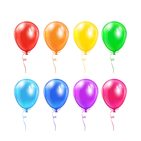 Illustration pour Set of colored balloons with bow isolated on a white background, illustration  - image libre de droit