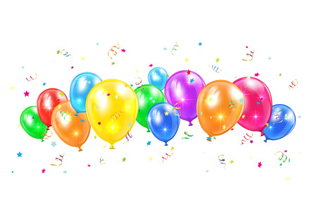 Illustration pour Colored balloons and tinsel flying isolated on white background, illustration  - image libre de droit
