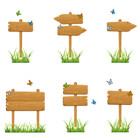 Set of wooden signs in a grass with butterflies isolated on white background, illustration