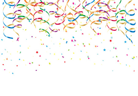Illustration pour Party streamers and colorful confetti on white background, illustration  - image libre de droit