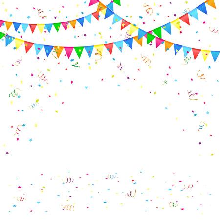 Illustration pour Festive background with colored pennants and confetti, illustration  - image libre de droit