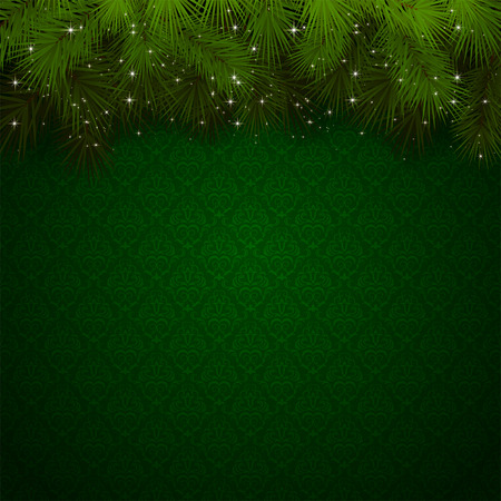 Illustration pour Christmas background with green wallpaper and sparkling spruce branches, illustration  - image libre de droit