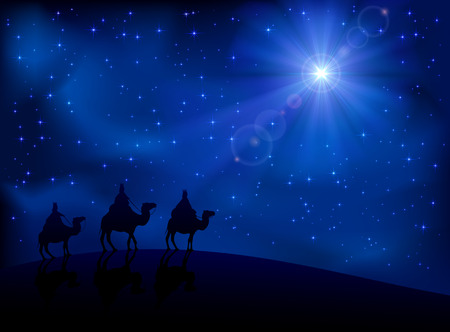 Illustration pour Christian Christmas scene with the three wise men and shining star, illustration  - image libre de droit