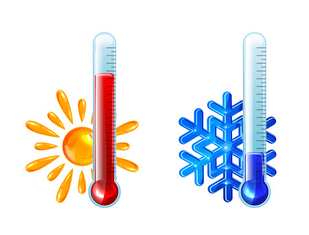 Illustration pour Set of thermometers with red and blue indicator isolated on white background, illustration  - image libre de droit
