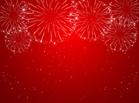 Illustration for Stars and shiny fireworks on red background, illustration  - Royalty Free Image