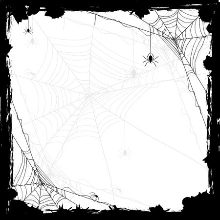 Illustrazione per Halloween abstract background with black spiders, illustration. - Immagini Royalty Free