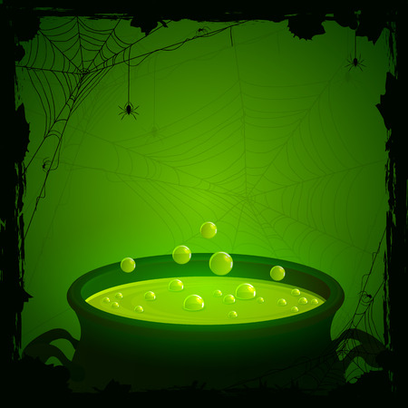 Illustrazione per Halloween background, witches cauldron with green potion and spiders, illustration. - Immagini Royalty Free