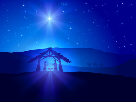 Illustration pour Christian Christmas scene with shining star on blue sky and birth of Jesus, illustration. - image libre de droit