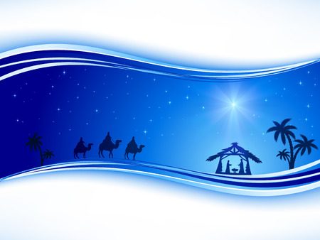 Illustration pour Abstract background, Christian Christmas scene with shining star on blue sky and birth of Jesus, illustration. - image libre de droit
