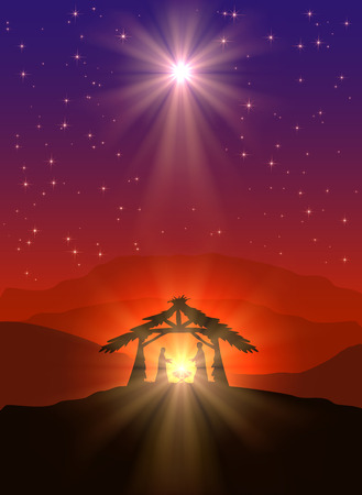 Illustration pour Christian Christmas scene with birth of Jesus and shining star in the sky, illustration. - image libre de droit