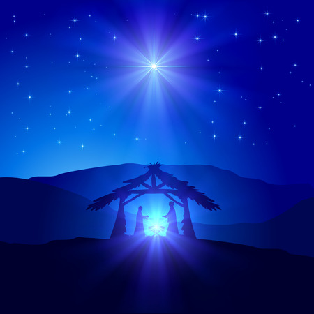 Illustration pour Christian Christmas scene with birth of Jesus and shining star on blue sky, illustration. - image libre de droit
