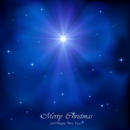 Illustration pour Shining Christmas star in the blue night sky, illustration. - image libre de droit