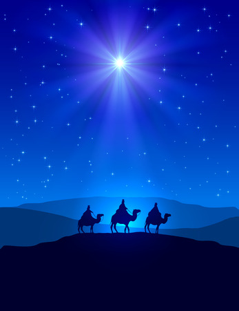 Ilustración de Christian Christmas night with shining star on blue sky and three wise men, illustration. - Imagen libre de derechos