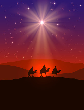 Ilustración de Christian Christmas background with shining star on night sky and three wise men, illustration. - Imagen libre de derechos