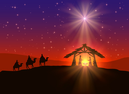 Illustration pour abstract background, christian christmas scene with shining star in the sky, birth of jesus, and three wise men on camels, illustration. - image libre de droit