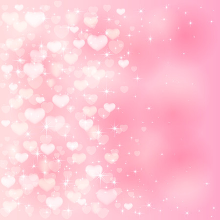 Illustration for Blurry Valentines background with pink hearts and stars, illustration. - Royalty Free Image