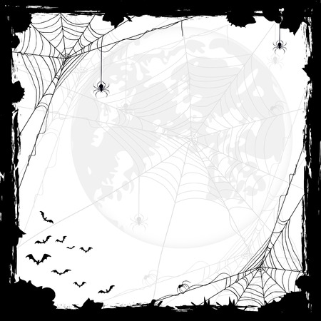 Illustrazione per Halloween abstract background with Moon, black spiders and bats, illustration. - Immagini Royalty Free