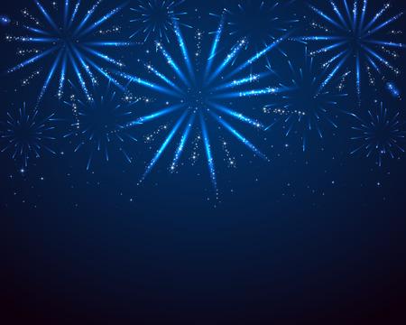 Illustration pour Blue sparkle fireworks on dark background, illustration. - image libre de droit