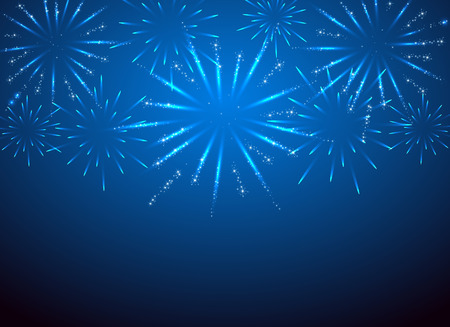 Ilustración de sparkle fireworks on the blue , illustration. - Imagen libre de derechos
