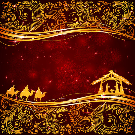 Illustration pour Christian Christmas scene with golden floral elements on red background, illustration - image libre de droit