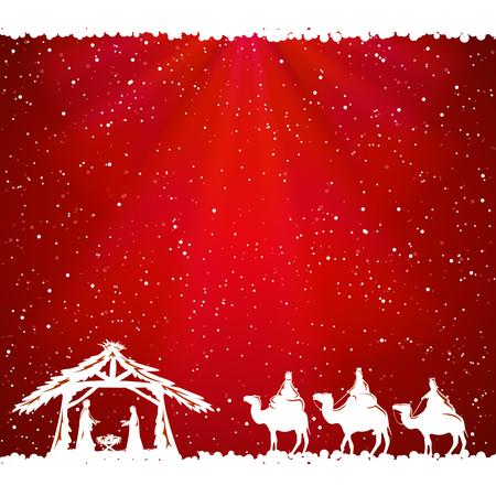 Illustration pour Christian Christmas scene on red background, illustration. - image libre de droit