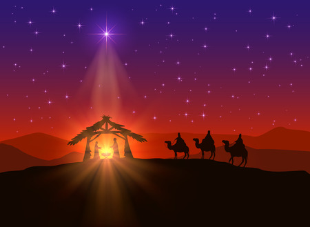 Illustration pour Christian background with Christmas star and birth of Jesus, illustration. - image libre de droit