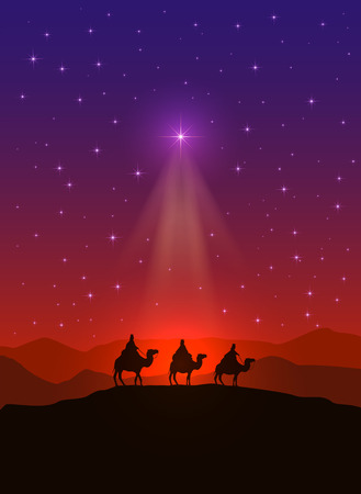 Illustration pour Christian background with Christmas star and three wise men, illustration. - image libre de droit