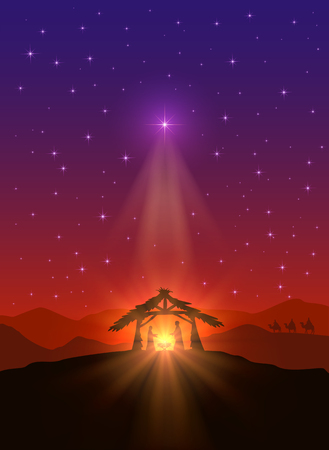 Illustration pour Christian background with Christmas star, birth of Jesus and three wise men, illustration. - image libre de droit