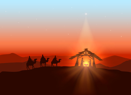 Illustration pour Christmas background with Christian theme, shining star and birth of Jesus, illustration. - image libre de droit