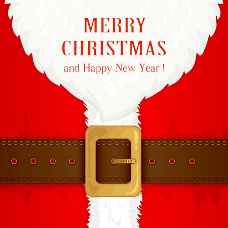 Illustration pour Beard and Santa suit with belt and gold buckle, illustration. - image libre de droit