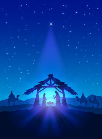Illustration pour Christian theme, Christmas star on blue sky and birth of Jesus, illustration. - image libre de droit