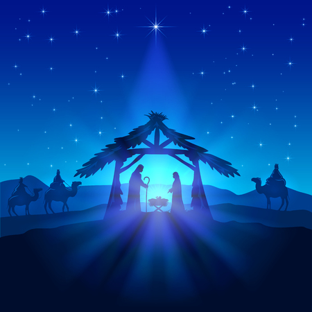 Illustration pour Nativity scene, Christmas star on blue sky and birth of Jesus, illustration. - image libre de droit