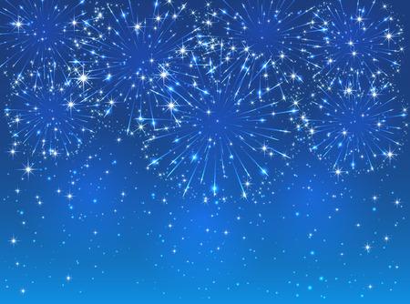 Bright sparkling fireworks on blue sky background, illustration.