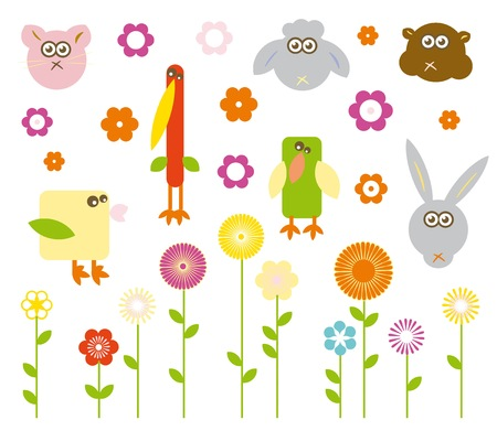 Set of cute vector animals and flowers