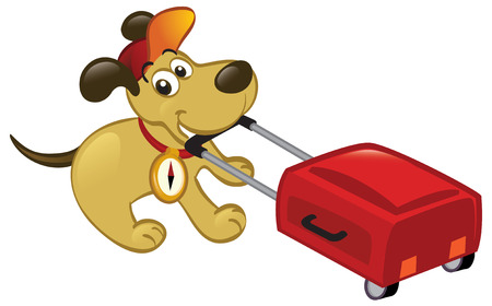 Illustration pour Cute cartoon dog pulling a luggage, ready to travel. - image libre de droit