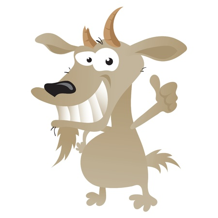 Illustration for Wacky goat cartoon character in thumbs up pose. - Royalty Free Image