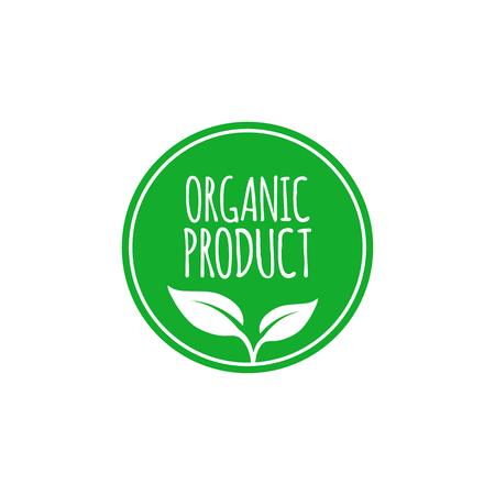 Ilustración de Organic food label and high quality product badge with leaves. Emblem for cafe, packaging etc. Vector illustration - Imagen libre de derechos