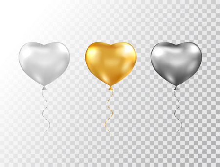 Illustration pour Helium heart balloons set isolated on transparent background. Foil glossy gold, silver and black festive balloons. Baloon for anniversary, birthday party, wedding, grand opening. Vector illustration - image libre de droit