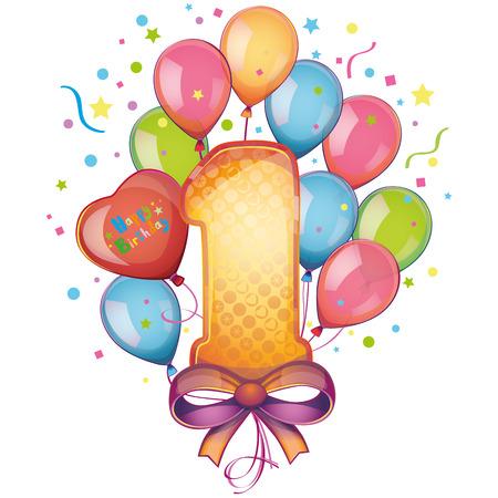 Illustration pour 1 Happy Birthday balloons - image libre de droit
