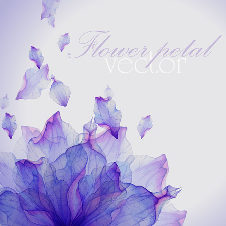 Ilustración de Watercolor card with Purple flower petal. Vectorized watercolor drawing. - Imagen libre de derechos
