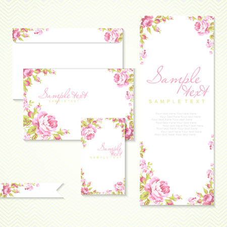 Photo pour Vector card with pink roses and chevron - image libre de droit