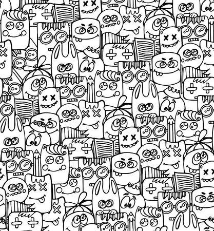 Illustration pour Seamless patter with bizarre elements and characters. - image libre de droit