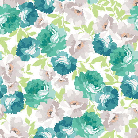 Photo pour Seamless floral pattern with blue roses - image libre de droit