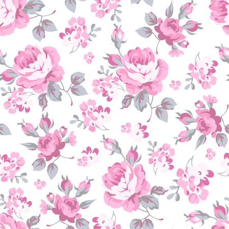 Illustration pour Seamless floral pattern with pink rose and grey leaves - image libre de droit