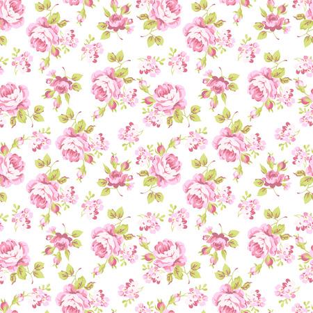 Ilustración de Seamless floral pattern with bouquets of pink roses - Imagen libre de derechos