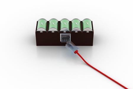 Foto de Battery connecting with cord wire - Imagen libre de derechos